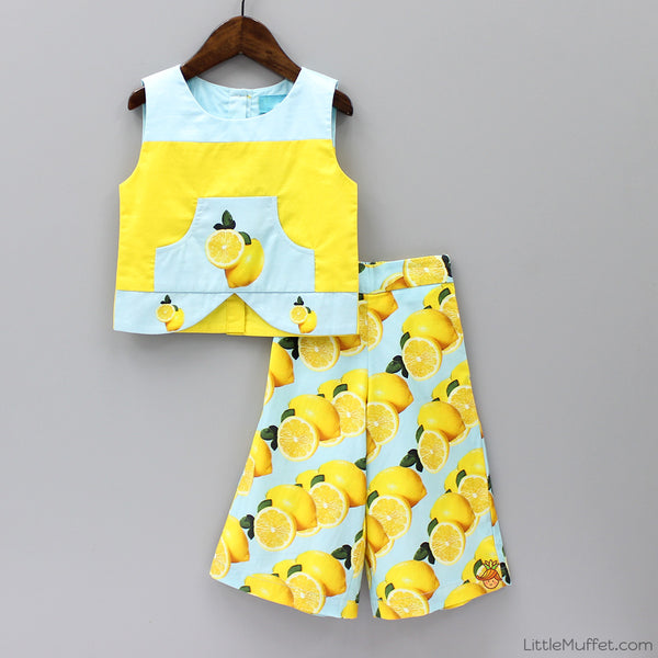 Pre Order: Lemons Culottes & Crop Top Set