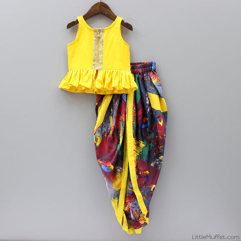 Pre Order: Yellow And Multicolour Dhoti Set