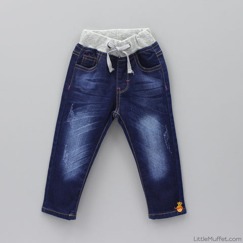 Drawstring Denim - Dark Blue