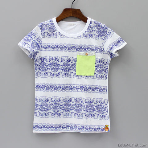 White And Blue Printed T Shirt