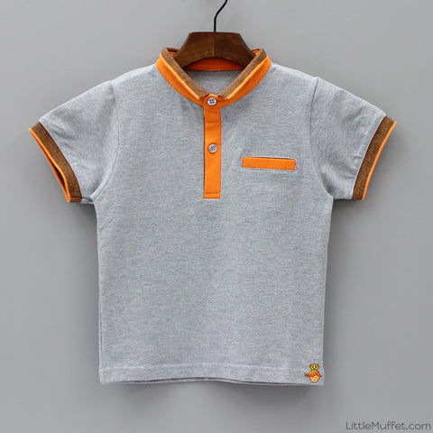 Grey And Orange Polo
