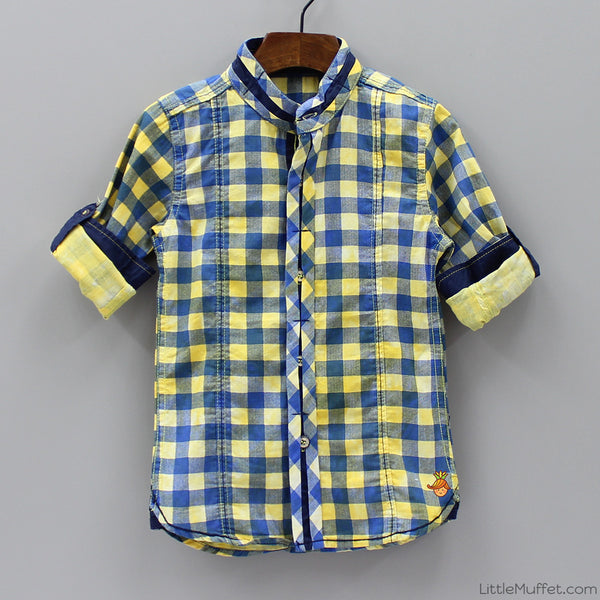 Checks Shirt - Yellow And Blue