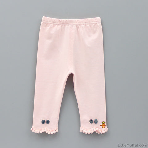Bowy Pom Pom Capri Leggings - Peach