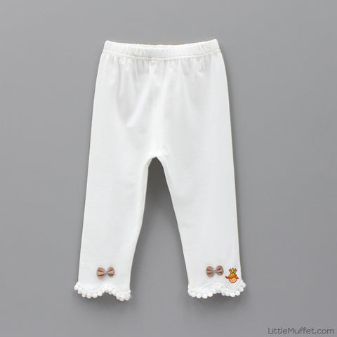 Bowy Pom Pom Capri Leggings - Off White