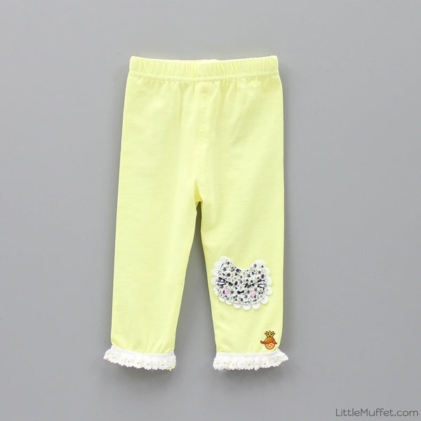 Catty Capri Leggings - Yellow