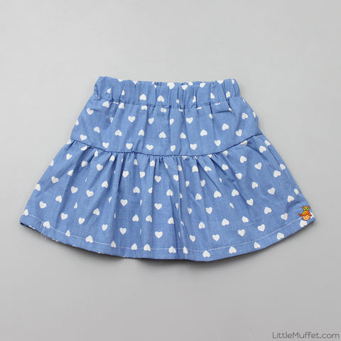 Blue Skirt With Shorts