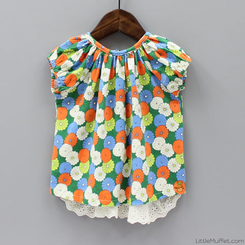 Multicolour Flowery Top - Orange And Green