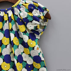 Multicolour Flowery Top- Green And Blue