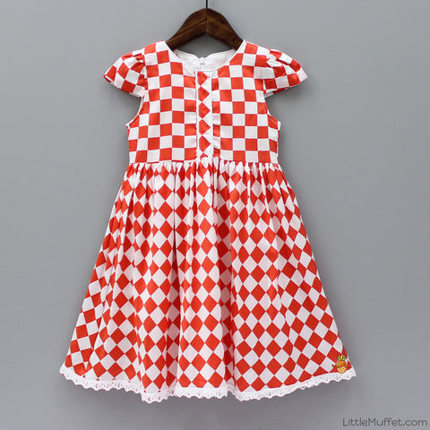 Checks Dress - White And Red