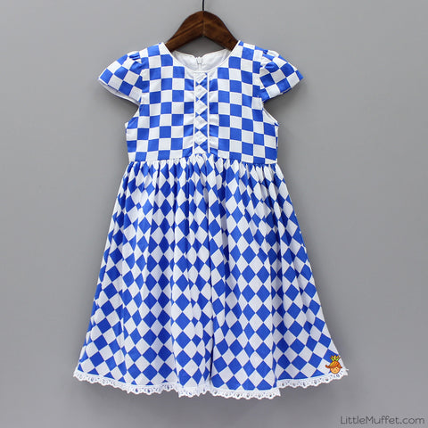 Checks Dress - White And Blue