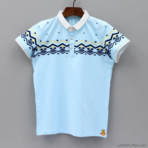Sky Blue Designed Polo