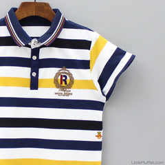 Stripy Polo - Yellow And Navy Blue