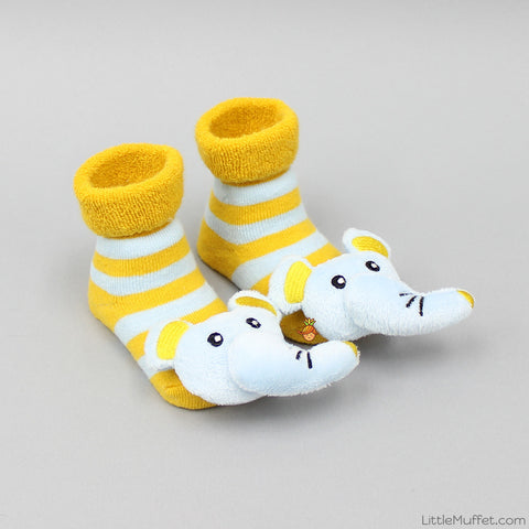 3D Socks - Yellow And Blue Elephant