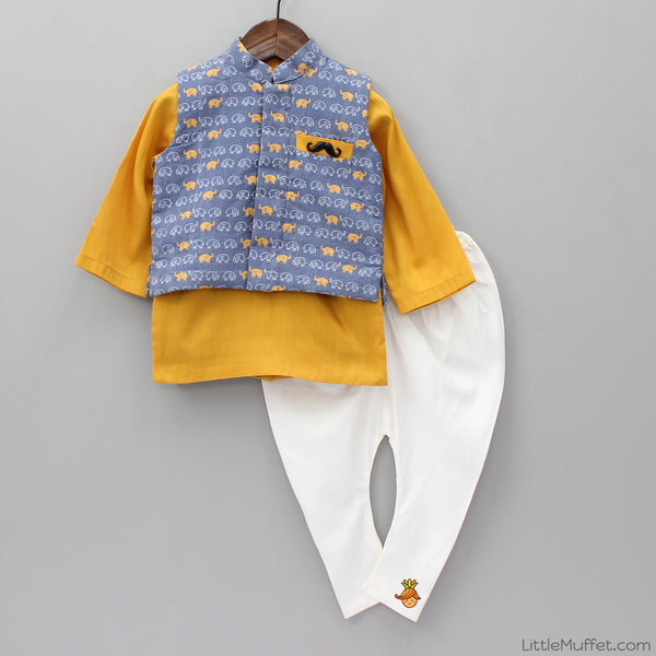Pre Order: Kurta & Churidaar With Elephant Print Nehru Jacket
