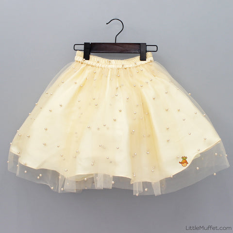 Pre Order: Pearl Embellished Skirt - Cream