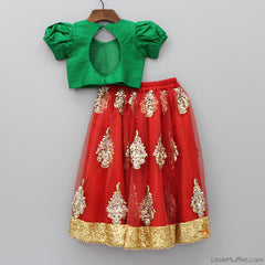 Pre Order: Red And Green Ghagra Choli