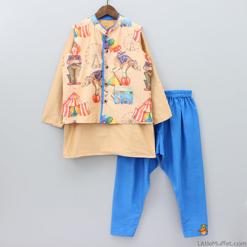 Pre Order: Circus Print Jacket With Patiala