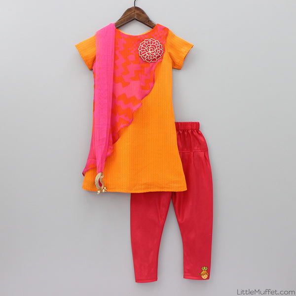 Pre Order: Orange And Pink Ethnic Dress With 3D Flower