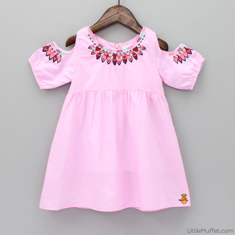 Embroidered Cold Shoulder  Tunic - Pink