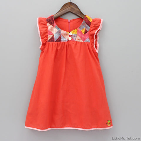 Orangy Embroidered Dress