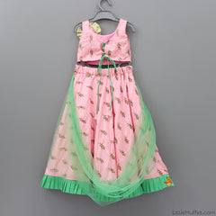 Pre Order: Peach Ghagra With Mint Dupatta