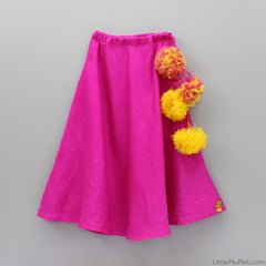 Pre Order: Yellow and Pink Ghagra Set