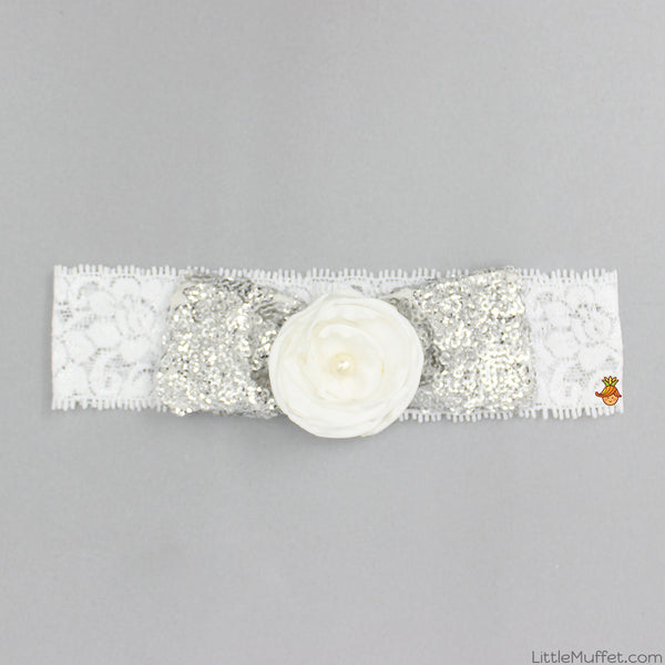 Pre Order: Silver Sequins Bow Headband