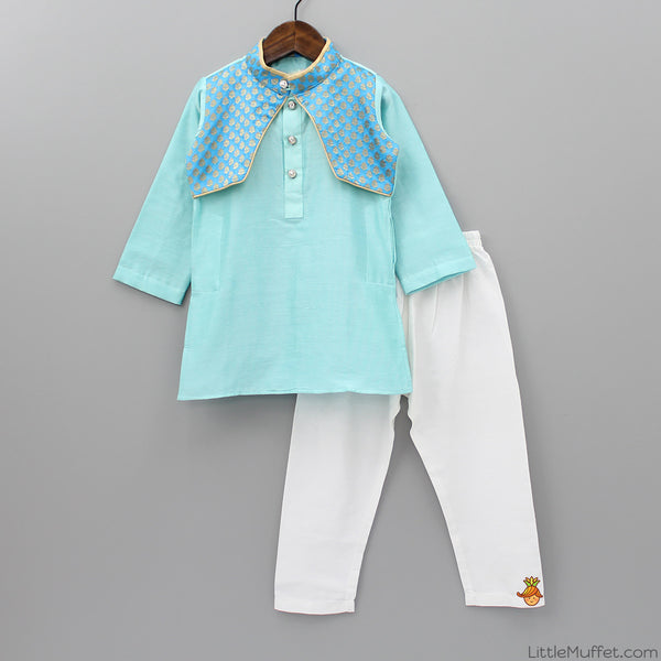 Pre Order: Pastel Blue Chanderi Kurta And Pyjama