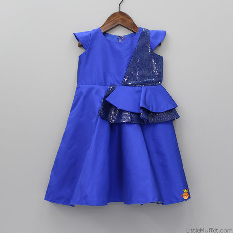 Pre Order: Royal Blue Glittery Sequence Dress