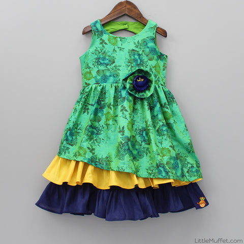 Pre Order: Green Floral Ruffle Dress