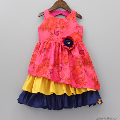Pre Order: Pink Floral Ruffle Dress