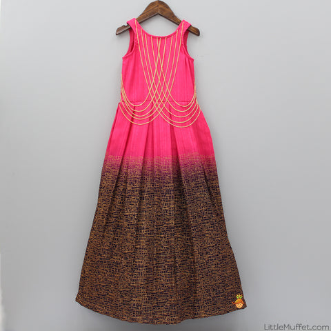Pre Order: Pink And Black Pleated Gown