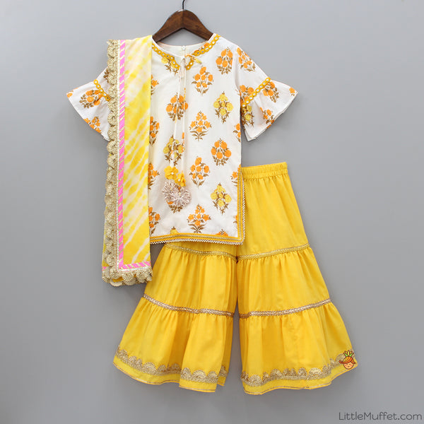 Pre Order: White Printed Kurti With Yellow Sharara