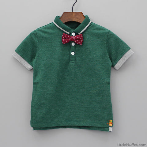 Green Polo With Bow Tie