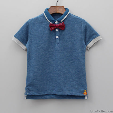 Blue Polo With Bow Tie