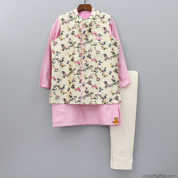 Pre Order: Kurta And Chudidar With Flower Print Jacket