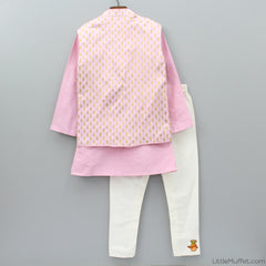 Pre Order: Pink Kurta - Chudidar Set With Brocade Jacket