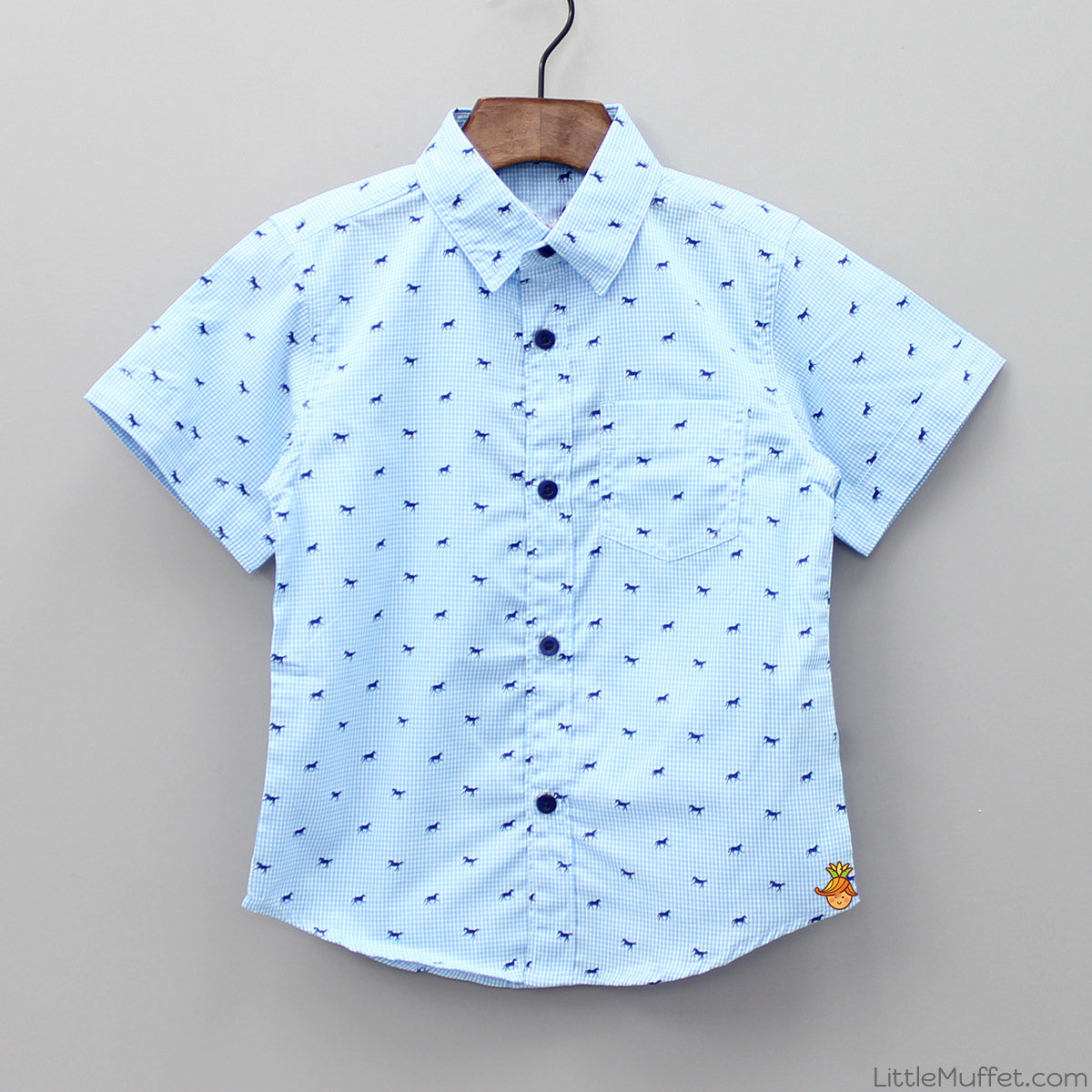 Blue Checks Horse Print Shirt