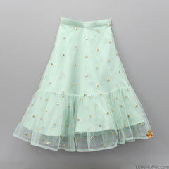 Pre Order: Sun n Sand - Yellow Top And Sea Green Ghagra