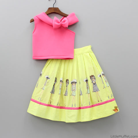 Pre Order: Pink Top With Lime Green Skirt