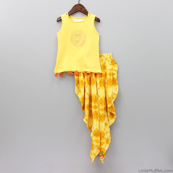 Yellow Top With Fusion Printed Dhoti