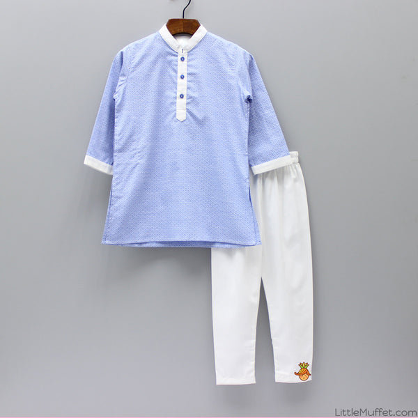 Blue Scallop Kurta And White Churidar