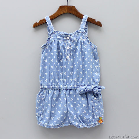 Flowery Denim Jumpsuit - Light Blue