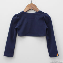 Navy Blue Shrug With Golden Lace