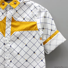 White & Yellow Formal Party Shirt
