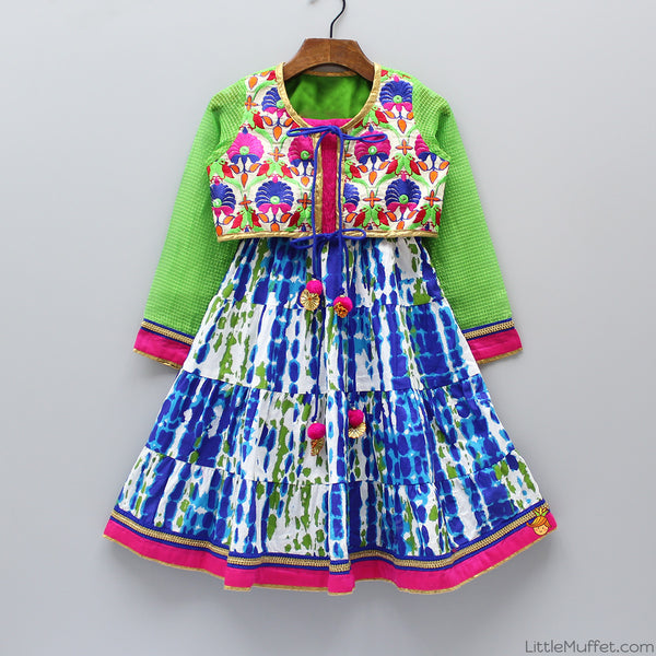 Multicolour Dress With Embroidered Shrug