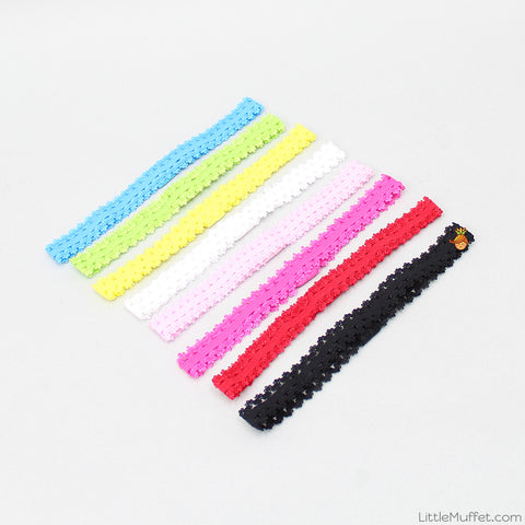 Lacy Mulitcolour Headbands - Set Of 8