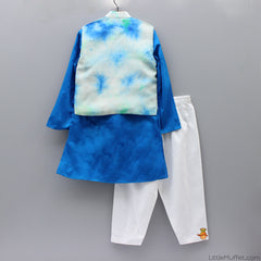 Pre Order: Blue Kurta And White Chudidar With Jacket