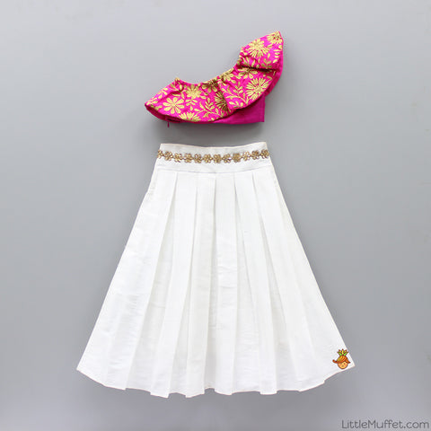Pre Order: One Shoulder Crop Top With White Skirt