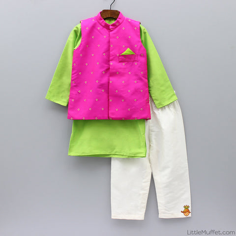 Pre Order: Bright Green Kurta And Pyjama With Hot Pink Nehru Jacket